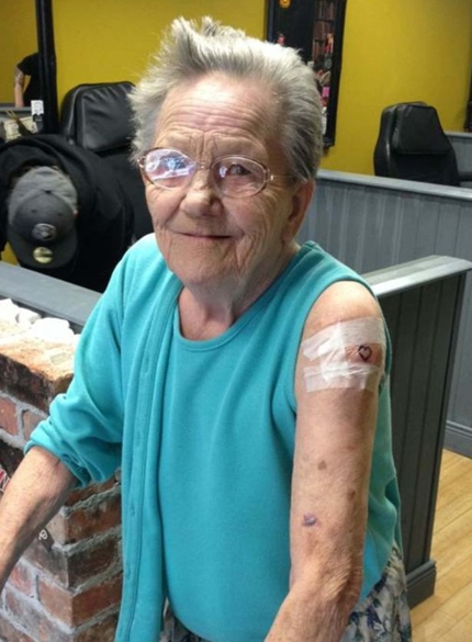 Sadie Sellers - a 79-year-old tattoo