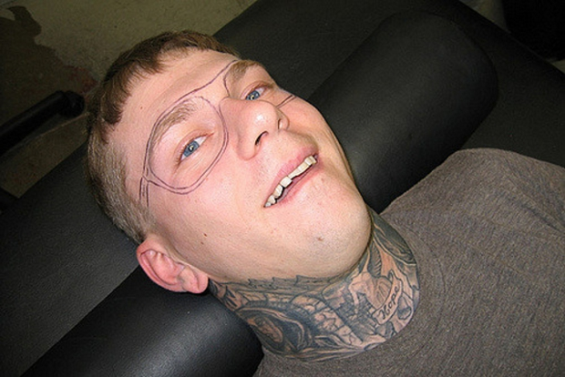 tattoo, ray ban glasses