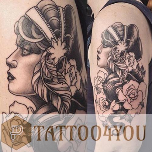 Neo traditional Black-Gray Tattoo