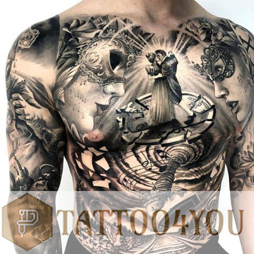 Black and Grey Tattoos for Chest and Back