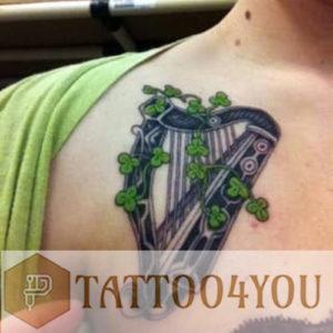 irish harp tattoo